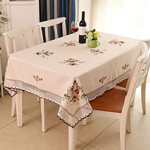 ZUOANCHEN Nappe En Coton Et Lin Imprimés Brodés Jardin Petit Bureau Frais Rectangulaire Table À Manger Nappe Salon Couverture Table Basse Serviette (Couleur : Blanc, taille : 88 * 88cm)
