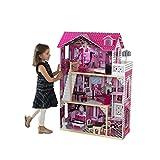KidKraft 65093 Maison de poupées en bois Amelia incluant accessoires et mobilier, 3 étages de jeu pour poupées 30 cm