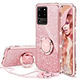 OCYCLONE for Galaxy S20 Ultra Case, Cute Glitter Phone Case with Ring Kickstand, Bling Diamond Rhinestone Bumper for Women Girls Case for Galaxy S20 Ultra [6.9 inch] 2020, Rose Gold Pink