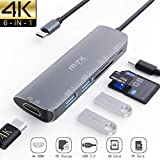 USB C Hub, MTK 6 in 1 USB C auf 4K HDMI Adapter, 2 USB 3.0 Ports, 100W Type C PD Ladeanschluss, TF Micro SD Kartenleser für MacBook Pro/Air, Chromebook Pixel, USB-C-Gerät