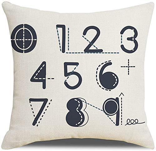 KnBoB Funda de Almohada Lino Negro Blanco Números Arábigos 40 x 40 cm Estilo 11