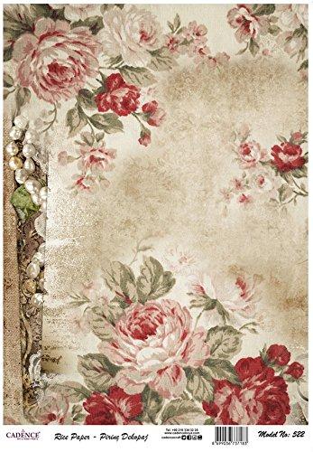 Cadence Papel de Arroz Pergamino con Rosas 30x41 cm.