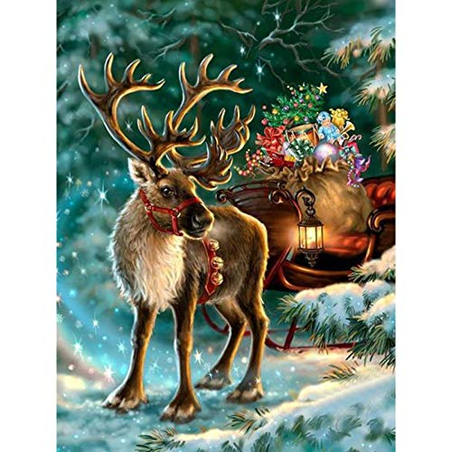 DIY Diamond Painting, Crystal Rhinestone Diamond Embroidery Pictures Arts Craft for Home Wall Decor Christmas Elk 11.8x15.7 in by Greatminer
