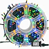 FUNPENY 164FT 500 LED Christmas Indoor Outdoor Decorative String Lights, 8 Modes Waterproof Green Wire LED Fairy Light for Xmas Party Wedding Garden Home Decoration (Multi-Colored)
