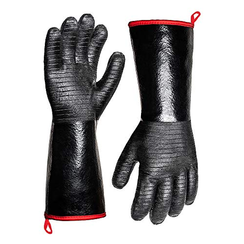 932°F Extreme Heat Resistant Gloves for Grill BBQ,Aillary Waterproof Long Sleeve Pit Grill Gloves for Fryer, Baking, Oven,Smoker,Fireproof, Oil Resistant Neoprene Coating(14-Inch )