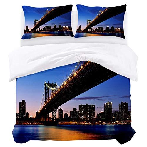 Bettbezug-Set, 3-teiliger, ultraweicher, Leichter Bettbezug aus Mikrofaser-Bettdecke mit Reißverschluss, Krawatten - Brooklyn Bridge City Nachtansicht Pflegeleicht...