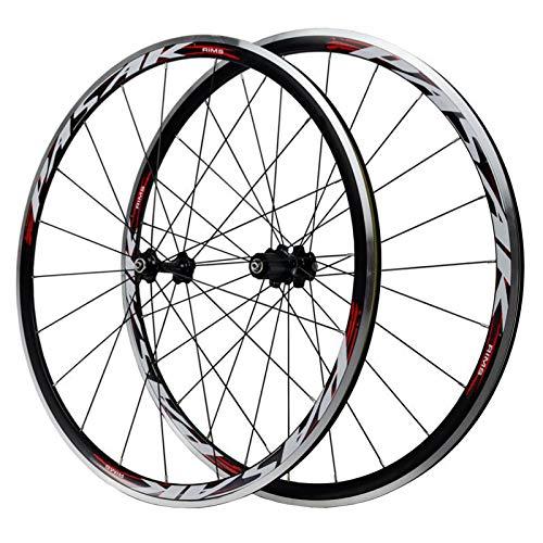 VPPV Ruedas de Bicicleta Carretera 700C, Pared Doble Aleación Aluminio Freno V Llanta de Carreras de Bici Buje de Rodamientos Sellados para 7-11 Speed (Color : A, Size : 700C)