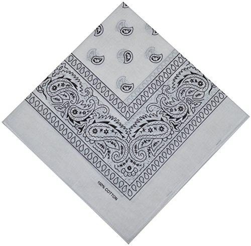 Bandana Halstuch Biker Nikki Tuch Schal Paisley Kopftuch 100% Baumwolle 25 Farben (Weiß)