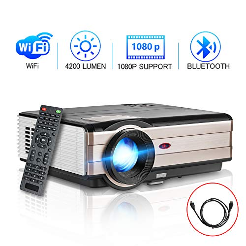 Wifi Bluetooth Home Theater Projector Binnen / Buiten, HD 1080P Ondersteuning LED LCD HDMI USB VGA AV Audio voor iPhone iPad Android Smart TV Gameconsoles PS4 XBOX Wii Blu-ray Dvd-speler Laptop