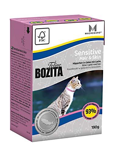 BOZITA Häppchen in Gelee Nassfutter Hair&Skin - 16 x 190 g - nachhaltig produziertes Katzenfutter für erwachsene Katzen - Alleinfuttermittel