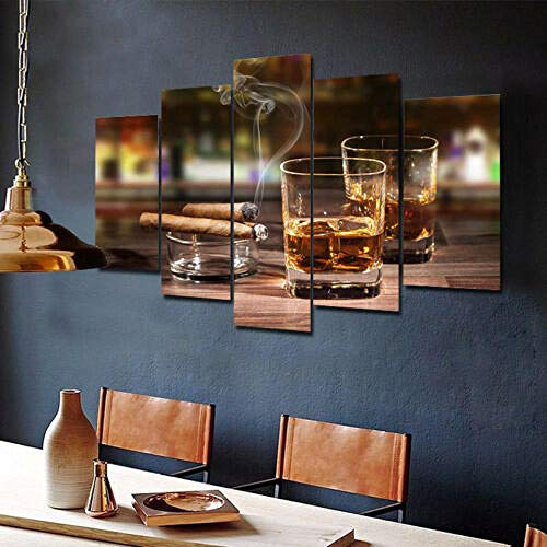 5 Piezas Cuadro sobre Lienzo De Fotos Vino y cigarros Lienzo Impresión Cuadros Decoracion Salon Grandes Cuadros para Dormitorios Modernos Mural Pared Listo para Colgar