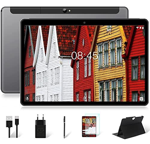 Tablet 10 Pollici Cellulare+WIFI 4GB RAM+64GB ROM (128GB Espandibili) Android Pie, 2 SIM Slot| 8000mAh| Dual Fotocamera(5MP+8MP)| Google GMS Certisfied| Bluetooth| GPS| FM, con Penna+Custodia, Grigio
