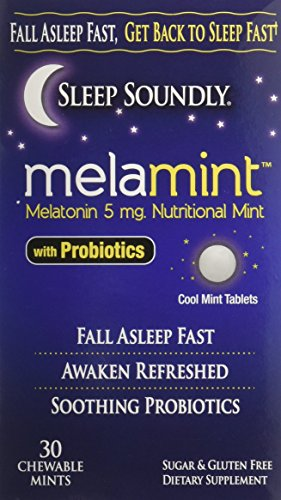 Sleep Soundly Melamint Melatonin Melt 5mg with Probiotics, Fast Acting Sleep Formula, 30 servings