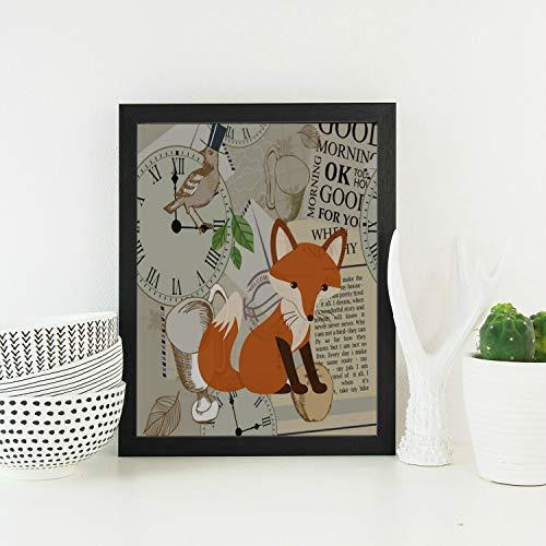 Enhusk Colgadores Pared para baño Clver Smart Orange Fox Animal Lindo Moderno Madera Enmarcado Vintage Arte Pintura Pintura Colgantes impresión para el Dormitorio Sala Estar Colgantes Pared Grandes