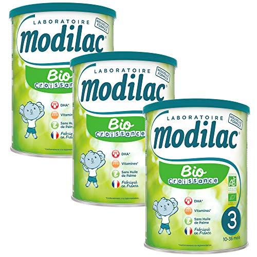 Laboratoire Modilac - Lait Infantile en Poudre Bio Croissance - 10-36 mois - 800g - Lot de 3