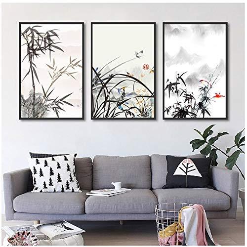 HUIGEFANBUHUA Tinte Malstil Bambus Und Orchidee Leinwand malerei wandkunst leinwandbilder für Wohnzimmer wohnkultur Hand leinwand kunst-50x70 cm Kein Rahmen