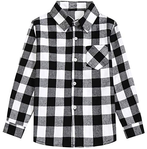 Kids Girls Long Sleeves Button Down Gingham Plaid Flannel Shirt Tops for Toddlers Baby and Little Girls, Girls(E004), 10-11 Years/Tag 170