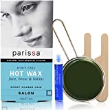 Parissa Warmwachs-Set für Bikinizone & Brazilian Waxing, inklusive Streifen,113,4g. 120g Wachs, 3Spatel, Pflegeöl.