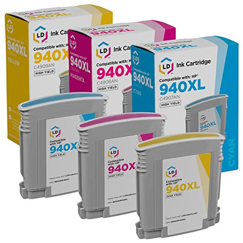 LD Remanufactured Ink Cartridge Replacement for HP 940XL High Yield (Cyan, Magenta, Yellow, 3-Pack)