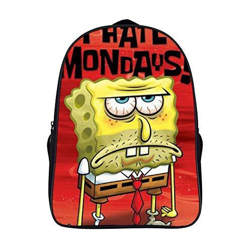 Spongebob Rucksack mit zwei Fächern, Schulranzen, Business, Tagesrucksack, Reiserucksack für Männer, Frauen, Teenager, Schule, Universität, 40,6 cm