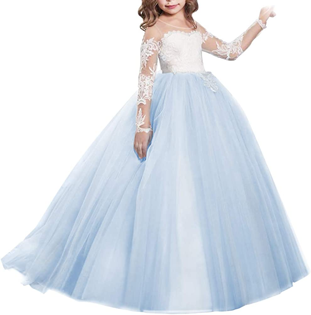 MYRISAM Attention brand Princess Lace Applique Dress Long W Popular products Flower Sleeves Girls