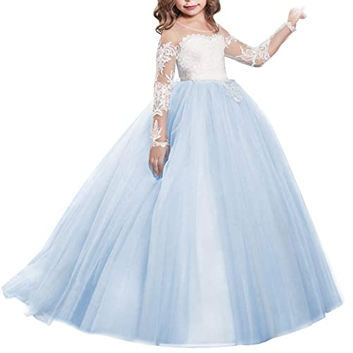 UK Flower Girl Dress Mesh Chiffon Long Dress Princess Wedding Bridesmaid Formal