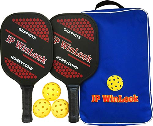 JP WinLook Pickleball Paddle Set - 2 Premium USAPA Approved Graphite Rackets Honeycomb Composite Core Ultra Cushion Grip; Gift Kit with Accessories - Portable Racquet Bag and 3 Balls, Indoor Outdoor
