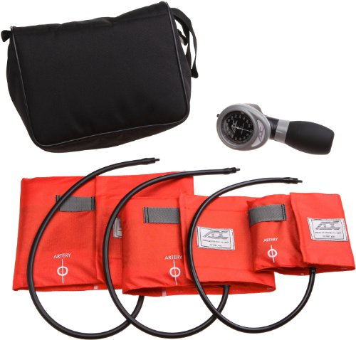 ADC - 731OR Multikuf 731 3-Cuff EMT Kit with 804 Portable Palm Aneroid Sphygmomanometer, Small Adult, Adult and Large Adult Blood Pressure Cuffs (19-50 cm), Black Nylon Zipper Storage Case, Orange