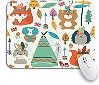 ROSECNY 可愛いマウスパッド 森明るいパターンかわいい森の部族の動物漫画の滑り止めゴムバッキングマウスパッドノートブックコンピューターマウスマット