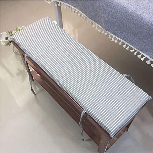 HUANXA Japonés Banco Cojín De Asiento, Rectángulo Algodón Cojines para Silla con Corbatas Simple Cojín para Sillas para Interior Al Aire Libre Banco-100x35cm(39x14inch)-Negro(4cm)