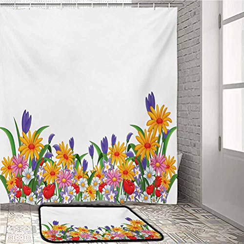 Flower Bath Rug and Shower Curtain Set Cartoon Style Print with Garden Bedding Plants Floral Daisies Violets Tulips Nature for Kids, Elders, and Dogs Multicolor