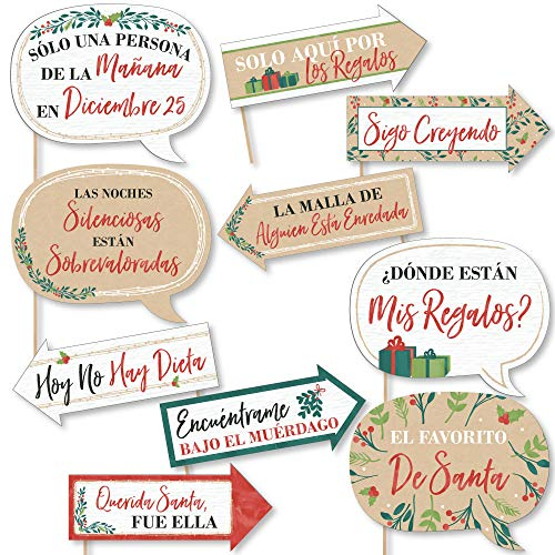 Big Dot of Happiness Funny Feliz Navidad - Holiday and Spanish Christmas Party Photo Booth Props Kit - 10 Piece