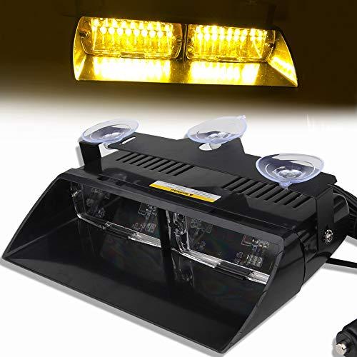 12V Ámbar 16 LED Alto Brillo Aplicación de la Ley Baliza de Emergencia Advertencia de peligro Luz Estroboscópico Flash Para Techo interno/Tablero de instrumentos/parabrisas con ventosa