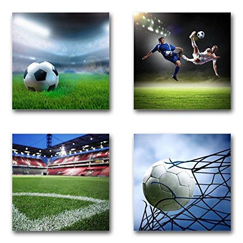Fußball - Set A schwebend, 4-teiliges Bilder-Set je Teil 29x29cm, Seidenmatte Moderne Optik auf Forex, UV-stabil, wasserfest, Kunstdruck für Büro, Wohnzimmer, XXL Deko Bild