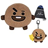 BT21 SHOOKY 6' Stuffed Plushie and 4' Bumble Buddy Clip-On Bag-Charm, with Myriads Drawstring Bag