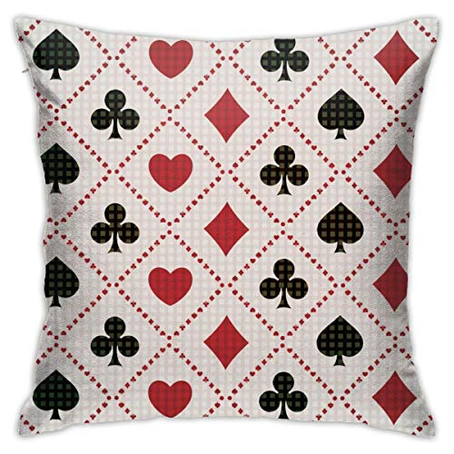 EU Red and Black Poker Marks Decorative Throw Pillow Cover Square Cushion Case for Home Sofa Bedroom Car Chair House Party Indoor Outdoor 18 X 18 Inch 45 X 45 cm