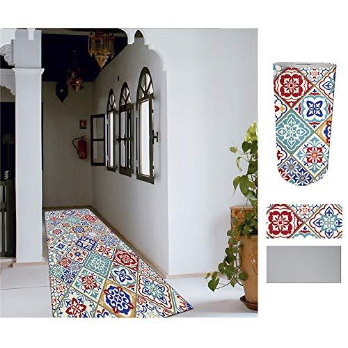 COMERCIAL CANDELA FELPUDOS Y ALFOMBRAS Alfombra de Pasillo de Textil Resinado Antimanchas, Lavable | Base PVC Antideslizante y Aislante Diseño Azulejos (52_x_250 CM)