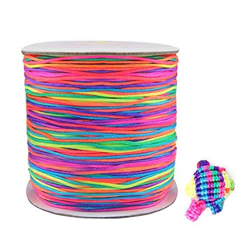WOWOSS 110m Cuentas Hilo Collar Cordón Cuentas Hilo Pulsera 1 mm para Pulseras Collares Joyas Artesanía,Pelo Cuerda Decoracion (Multicolor)