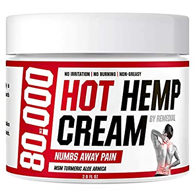 Hot Hemp Cream - 80000MG - Arthritis, Carpal Tunnel, Inflammation, Back, Foot, Nerve, Joint, Muscle, Neck Pain, Natural Stress Relief - MSM, Turmeric, Aloe, Arnica - Warming Topical Salve from Remedial