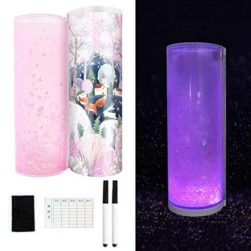 hebaotong Quicksand Translucent Pencil Box, Luminous Multifunction Cylindrical Pencil Box Case Double-Sided Pencil Box School Stationery Pen Holder with Calculator