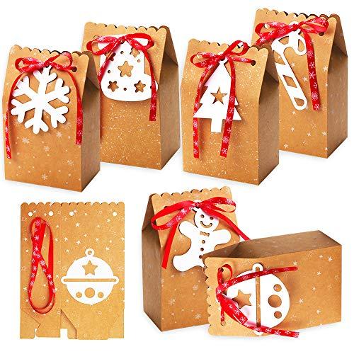 Gudotra Kit 24pz Sacchetti di Carta Natale + 24 Etichette + Nastri Rossi Sacchettini Scatole Regalo di Natale Decorazioni Natalizie