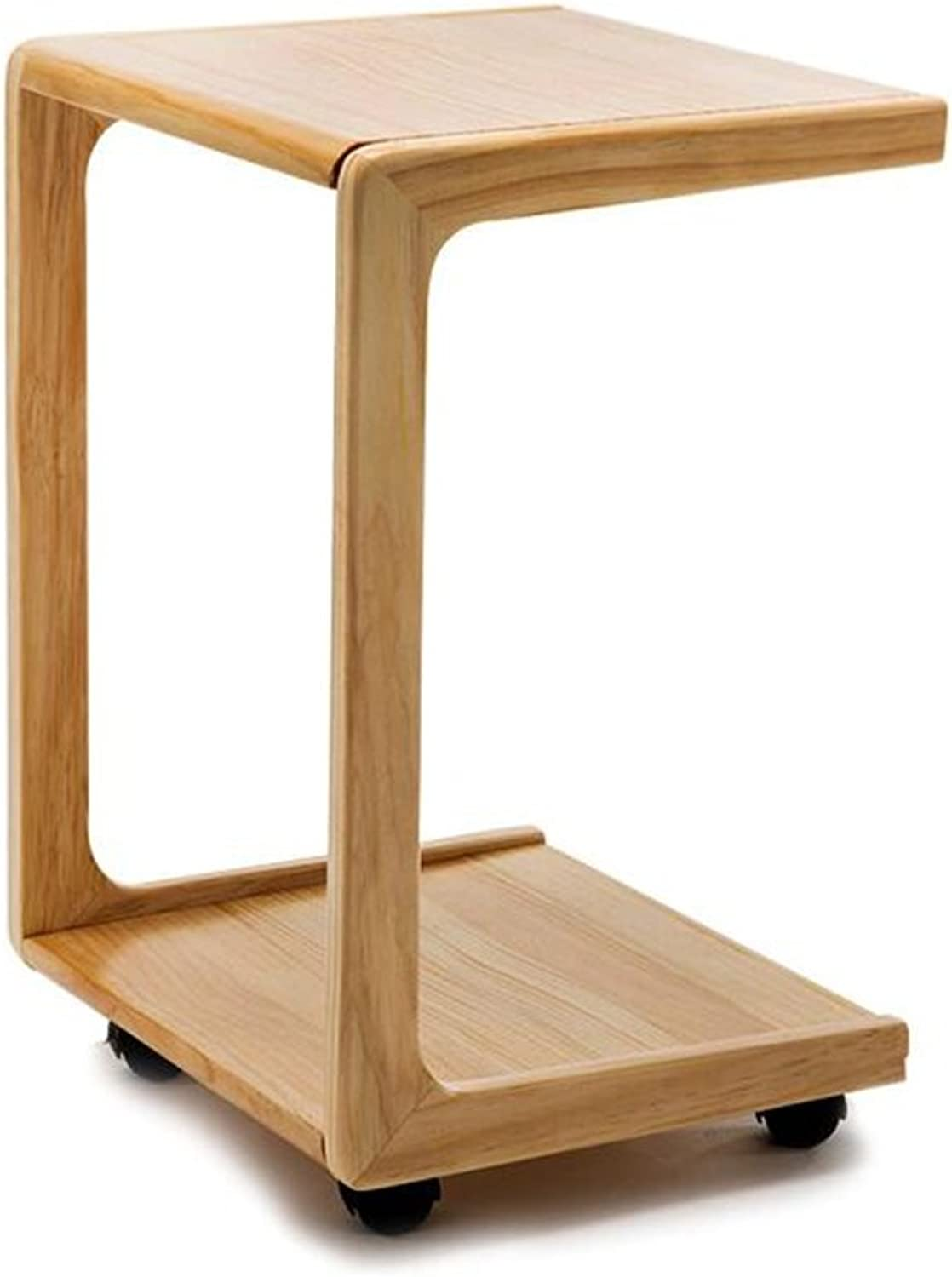 Moving Bedside Table, Wooden Sofa Table Side Bookshelf Small Coffee Table