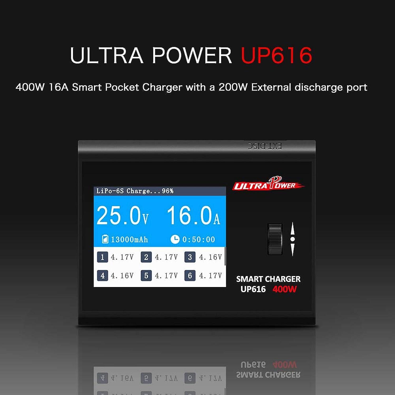 Festnight Ultra Power UP616 400W 16A Chargeur de Poche Intelligent déchargeur pour Drone hélicoptère de Voiture RC Li-Po Li-Hv Li-ION Li-Fe NiMH PB Ni-CD Batterie