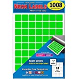 Pack of 1008 1-Inch Square Color Coding Dot Labels, Neon Green, 8 1/2'...