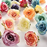 silk flowers in bulk wholesale Rose Artificial Silk Rose Flowers Wall Heads Home Wedding Decoration DIY Wreath Accessories Craft Fake Flower 30Pcs 3.5cm (Multicolor)