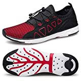 vibdiv Men's Water Shoes - Quick Drying Outdoor Lightweight Sports Aqua Shoes Black Red 9.5