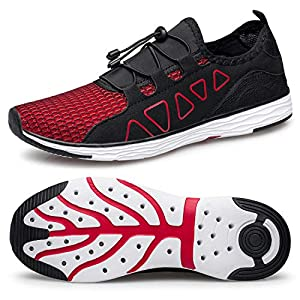vibdiv Men's Water Shoes - Quick Drying Outdoor Lightweight Sports Aqua Shoes Black Red 7