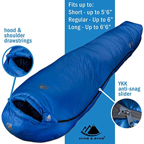 Hyke & Byke Snowmass -15 Degree C Down Sleeping Bag for Backpacking, Ultralight Mummy Down Bag with Lightweight Compression Sack and Five (5) Color Options (Blue, Short)