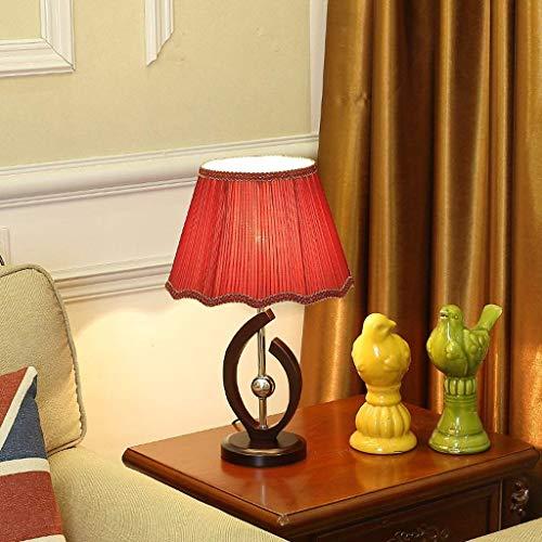 SYyshyin Lámpara de mesita de Noche para Dormitorio, Moderna mesita de Noche E27 Luz de Escritorio Lámpara de Escritorio led de Madera Maciza de Moda Minimalista Luces de Mesa Americanas con Pantalla