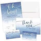 Baby Shower Invitations Set for Boys - 25 Blank Fill-in Invites with Envelopes, Books for Baby, Diaper Raffle, and Thank You Cards - Blue Watercolor